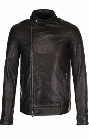 Кожаная куртка на молнии с воротником-стойкой Salvatore Santoro. Цвет: черный