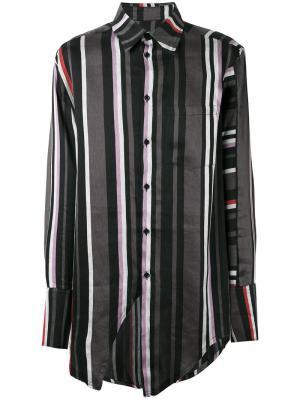 Полосатая рубашка с нагрудным карманом Yang Li. Цвет: чёрный