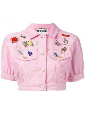 Укороченный джинсовый пиджак с заплатками Moschino Vintage. Цвет: розовый и фиолетовый
