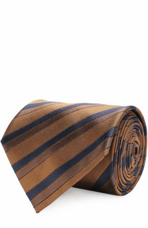Шелковый галстук в полоску Brioni. Цвет: темно-бежевый