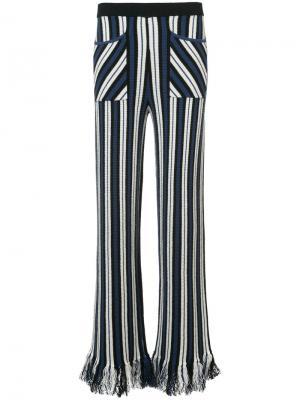 Полосатые брюки с бахромой по низу Rosie Assoulin. Цвет: синий