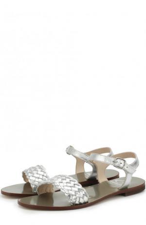 Сандалии из металлизированной кожи с плетением Gallucci. Цвет: серебряный