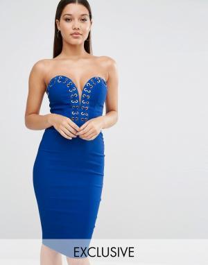 Rare Платье-футляр с золотистой отделкой London. Цвет: синий