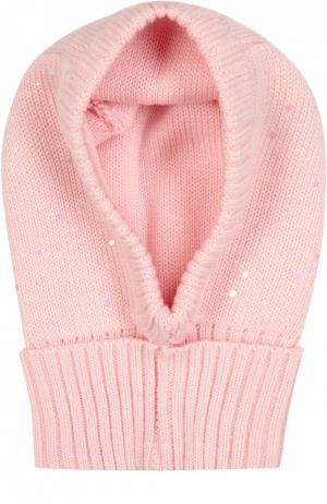 Шапка-балаклава из шерсти с декором Il Trenino. Цвет: розовый