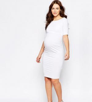 ASOS Maternity Платье для беременных с укороченными рукавами PETITE. Цвет: белый