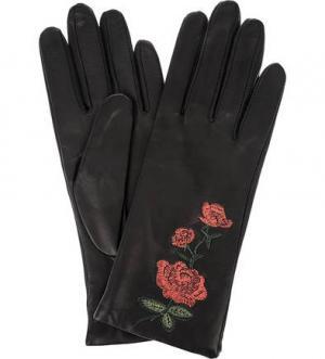 Кожаные перчатки с цветочной вышивкой ELEGANZZA. Цвет: черный