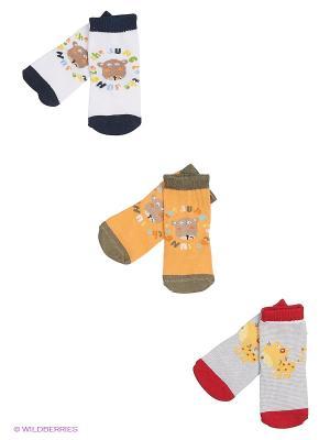 Носки, 3 пары Malerba. Цвет: красный, желтый