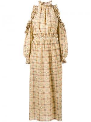 Платье с оборками и открытыми плечами Tata Naka. Цвет: жёлтый и оранжевый
