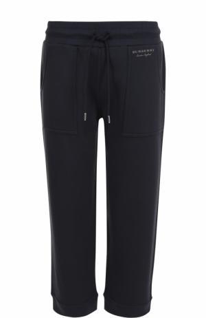 Укороченные хлопковые брюки с карманами Burberry. Цвет: темно-синий