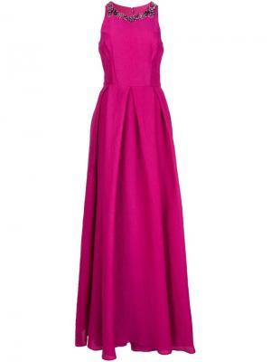 Декорированное платье Marchesa Notte. Цвет: розовый и фиолетовый