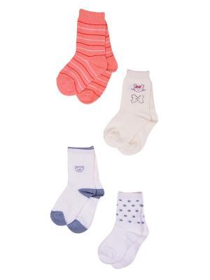 Носки, 4 пары Malerba. Цвет: коралловый, белый