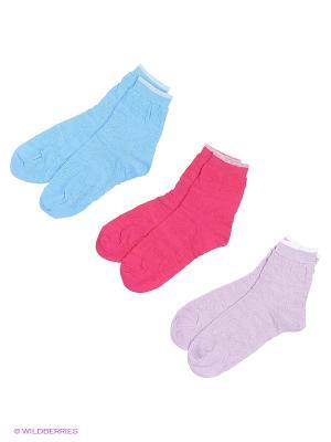 Носки, 3 пары Гамма. Цвет: малиновый, сиреневый
