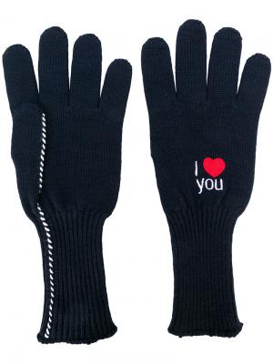 Перчатки с вышивкой Raf Simons. Цвет: синий
