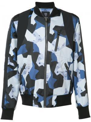 Куртка-бомбер с геометрическим принтом Christopher Raeburn. Цвет: синий