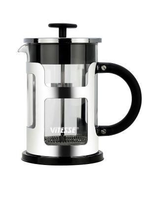 Кофеварка френч-пресс Vitesse. Цвет: черный, прозрачный