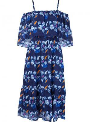 Платье с марокканским принтом Tanya Taylor. Цвет: синий