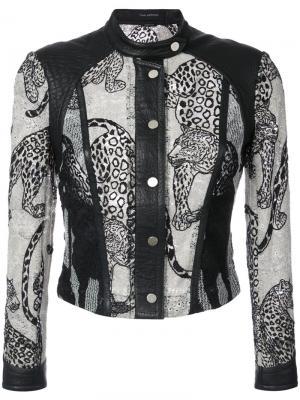 Пиджак с вышитыми леопардами Yigal Azrouel. Цвет: чёрный