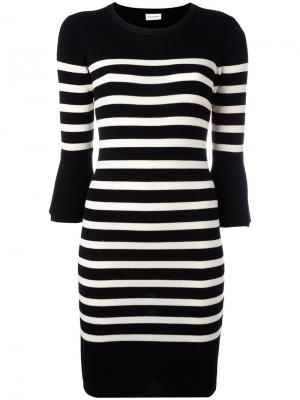 Striped knitted dress By Malene Birger. Цвет: чёрный