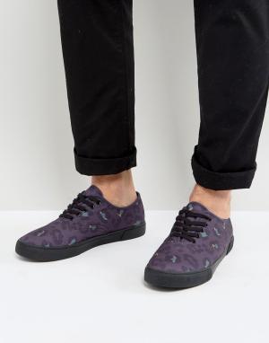 ASOS Фиолетовые кеды с леопардовым принтом. Цвет: фиолетовый