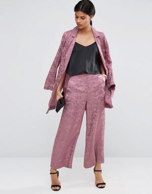 ASOS Юбка-шорты с широкими штанинами и принтом. Цвет: розовый