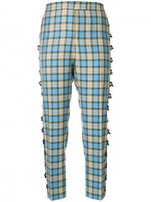 Укороченные брюки в клетку Marco De Vincenzo. Цвет: синий