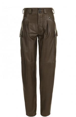 Однотонные кожаные брюки с защипами Tom Ford. Цвет: хаки
