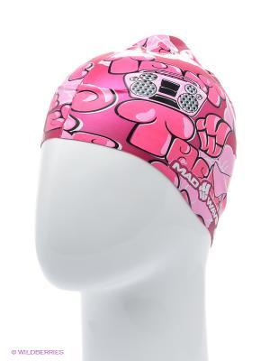 Шапочка для плавания DISCO Mad Wave. Цвет: розовый