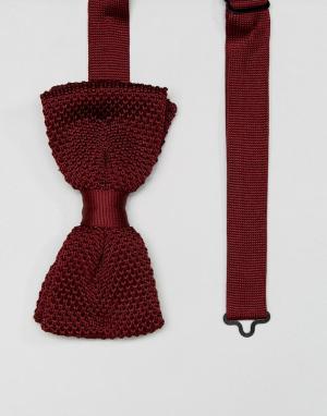 Noose & Monkey Вязаный галстук-бабочка. Цвет: красный