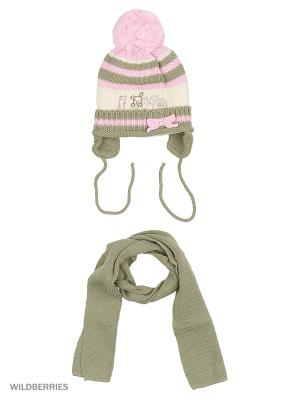 Шапка, шарф Pro-han. Цвет: розовый, серый, молочный