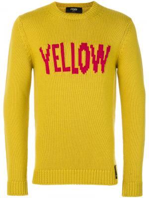 Свитер с принтом Yellow Fendi. Цвет: жёлтый и оранжевый