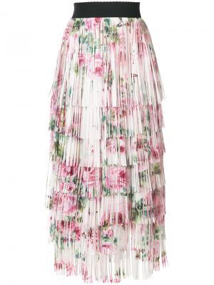 Юбка миди с цветочным принтом и завязкой Dolce & Gabbana. Цвет: телесный
