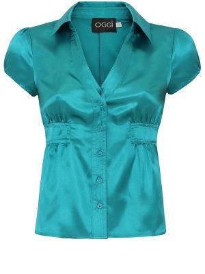 Блузка Oodji. Цвет: бирюзовый