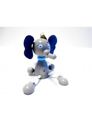 Игрушка подвеска на пружине - Слон Taowa. Цвет: синий, серый