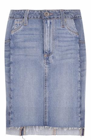 Джинсовая мини-юбка с необработанным краем Paige. Цвет: синий