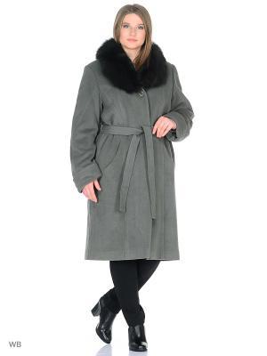 Пальто Трейс VIKO. Цвет: серо-зеленый