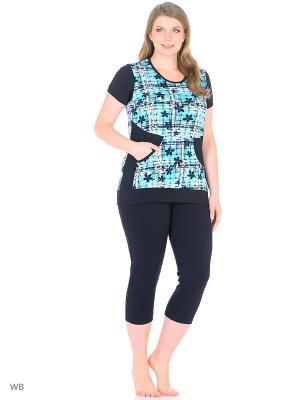 Домашний костюм (футболка, бриджи) HomeLike. Цвет: темно-синий, бирюзовый