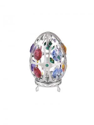 Миниатюра  Пасхальное яйцо серебристого цвета с цветными кристаллами CRYSTOCRAFT. Цвет: серебристый