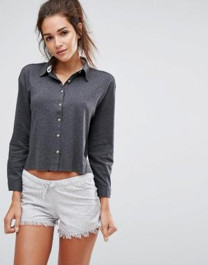 Lazy Days Пижамный комплект с рубашкой и шортами. Цвет: серый