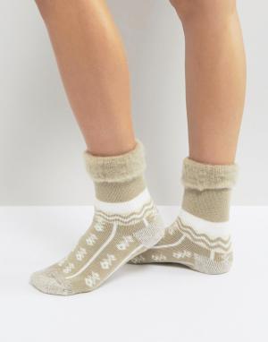 Free People Слиперы-носки с узором. Цвет: кремовый