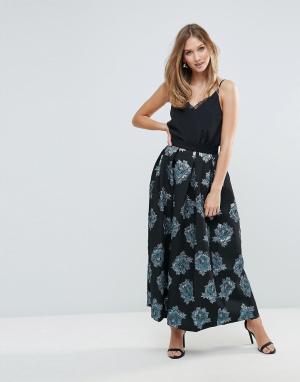 Closet London Плиссированная жаккардовая юбка с цветочным узором. Цвет: мульти