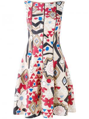Платье с геометрическим принтом Talbot Runhof. Цвет: телесный