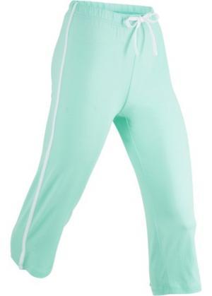 Спортивные брюки капри с эффектом стретч (нежно-мятный) bonprix. Цвет: нежно-мятный