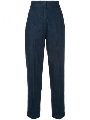 Зауженные брюки с высокой талией H Beauty&Youth. Цвет: синий