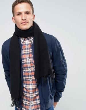 Glen Lossie Черный шарф из овечьей шерсти. Цвет: черный