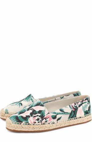 Текстильные эспадрильи с цветочным принтом Burberry. Цвет: зеленый