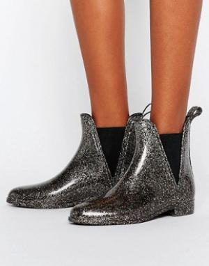 ASOS Резиновые ботинки челси GAME. Цвет: серебряный