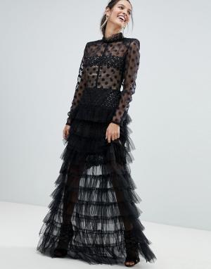 Bronx and Banco Платье макси с сетчатым топом в горошек и юбкой из тюля Banc. Цвет: черный