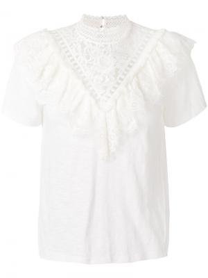 Блузка с декоративной вышивкой Sea. Цвет: белый