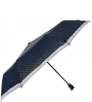 Складной зонт с куполом в клетку Doppler. Цвет: синий