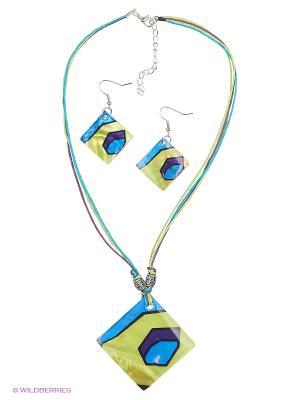 Серьги, кулон Vittorio Richi. Цвет: синий, желтый